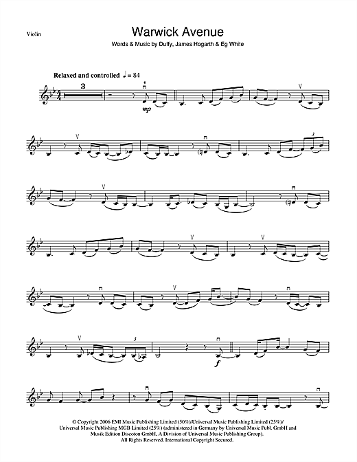 Warwick Avenue Sheet Music