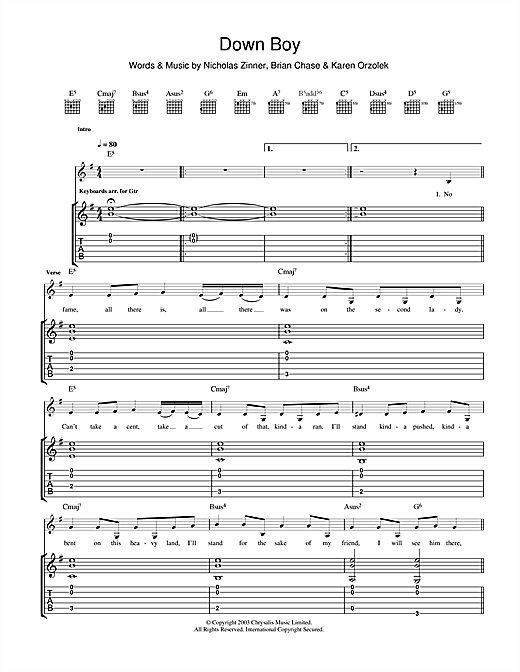 Tablature guitare Down Boy de Yeah Yeah Yeahs - Tablature Guitare