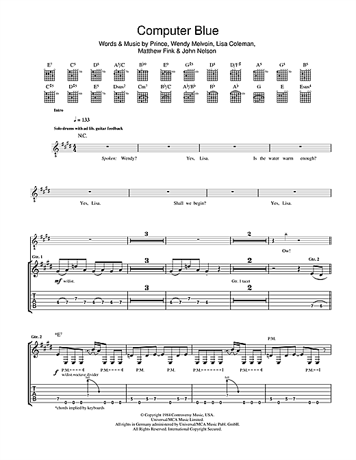 Computer Blue Sheet Music