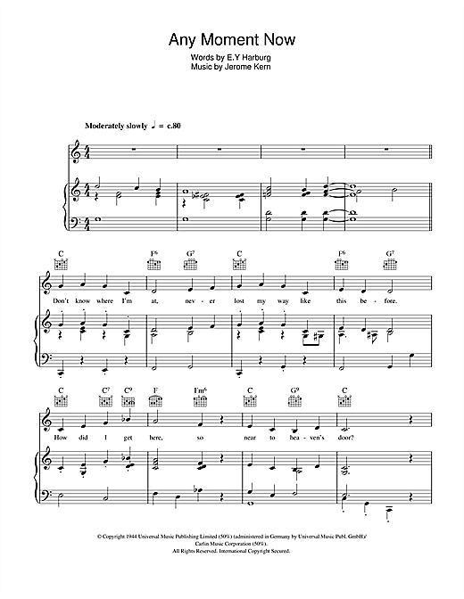 Any Moment Now Sheet Music