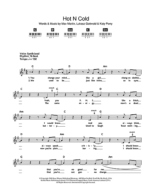 Hot N Cold Sheet Music