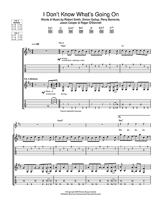Tablature guitare I Don't Know What's Going On de The Cure - Tablature Guitare