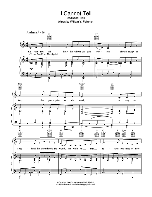 I Cannot Tell Sheet Music