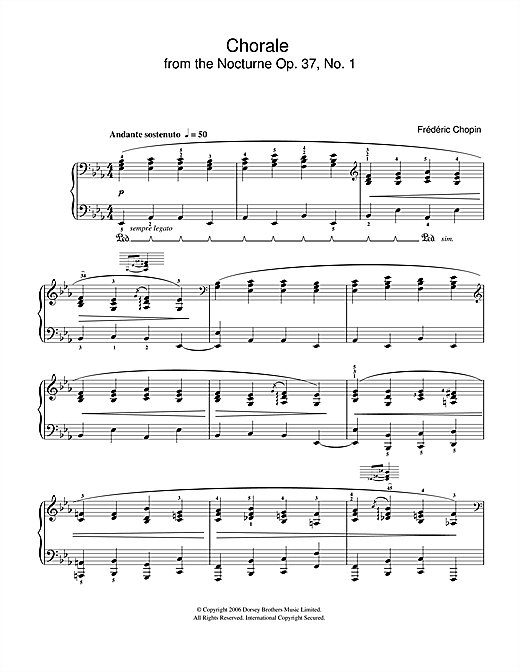 Chorale from Nocturne Op. 37, No. 1 Sheet Music