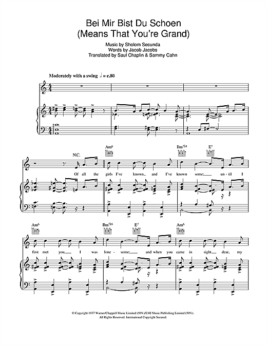 Bei Mir Bist Du Schon (Means That You're Grand) Sheet Music