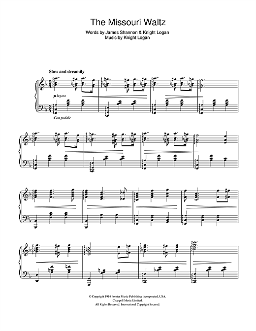 The Missouri Waltz (Piano Solo)