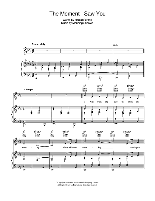 The Moment I Saw You Sheet Music