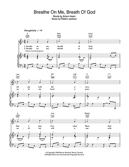 Breathe On Me, Breath Of God Sheet Music