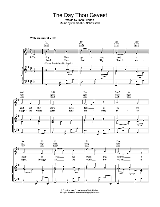 The Day Thou Gavest Sheet Music