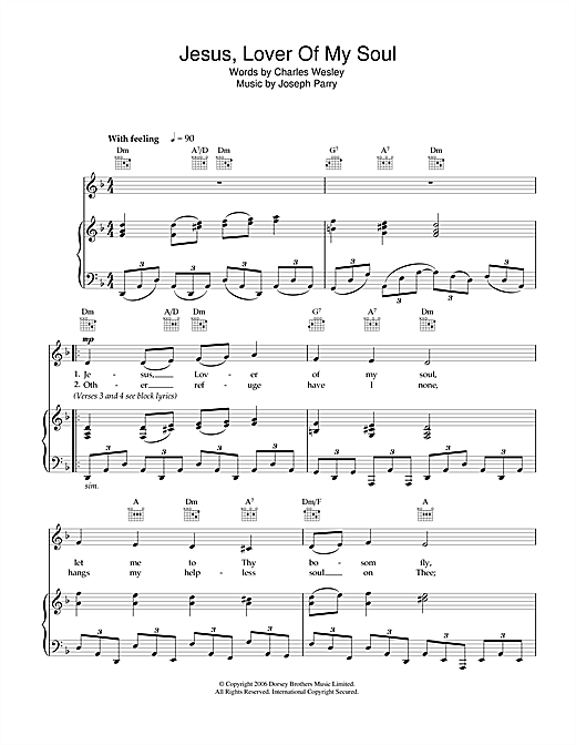 Jesus, Lover Of My Soul (Piano, Vocal & Guitar (Right-Hand Melody))