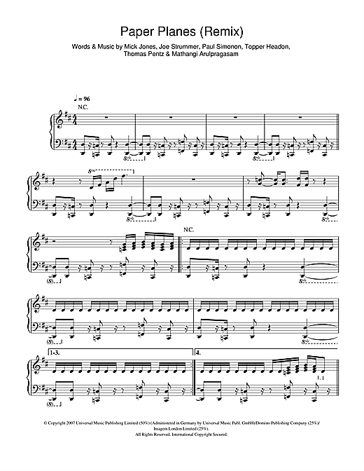 Paper Planes Remix (from Slumdog Millionaire) Sheet Music