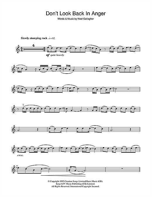 Don't Look Back In Anger Sheet Music
