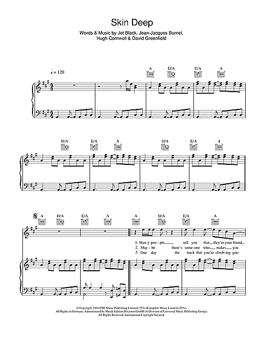 Partition piano Skin Deep de The Stranglers - Piano Voix Guitare