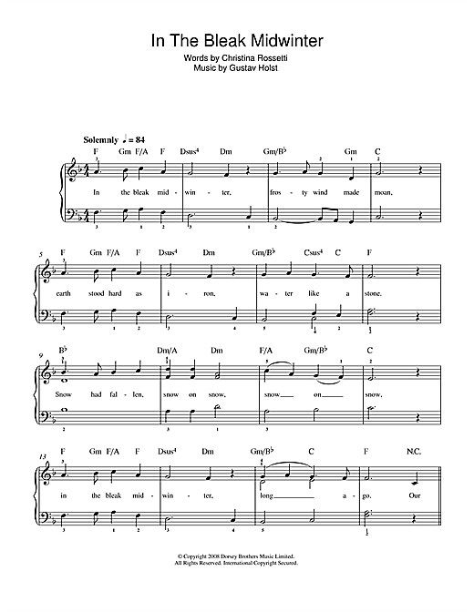 In The Bleak Midwinter Sheet Music By Gustav Holst Beginner Piano