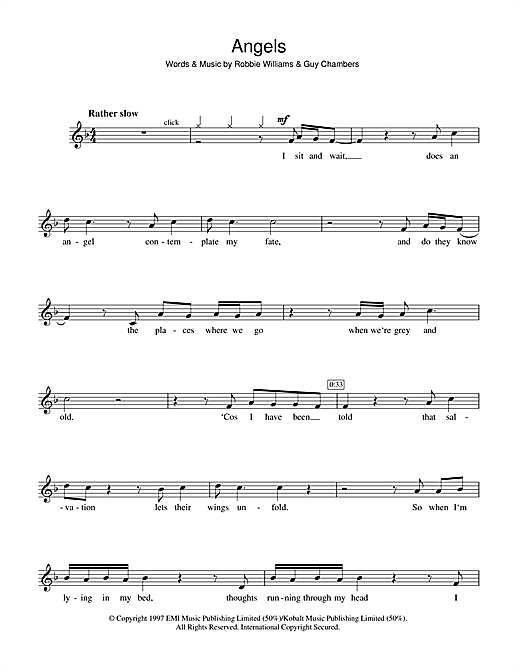 Angels Sheet Music