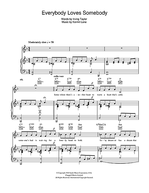 Everybody Loves Somebody (Piano, Vocal & Guitar (Right-Hand Melody))