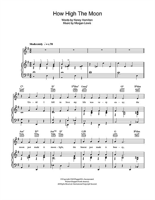 how high the moon sheet music by ella fitzgerald piano. Black Bedroom Furniture Sets. Home Design Ideas