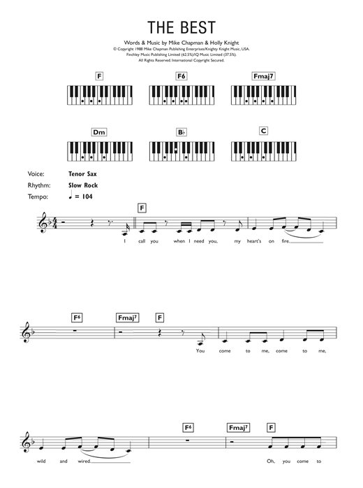 simply the best piano sheet music by tina turner keyboard