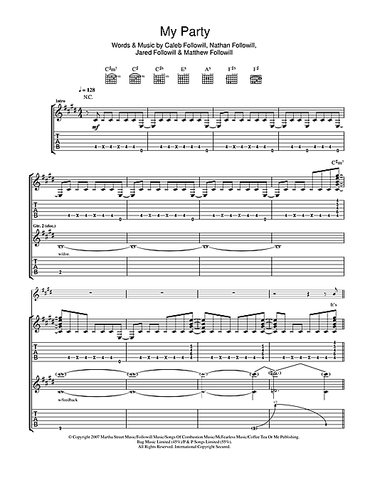 Tablature guitare My Party de Kings Of Leon - Tablature Guitare