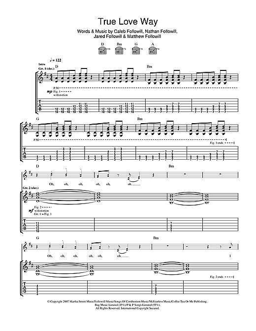 Tablature guitare True Love Way de Kings Of Leon - Tablature Guitare