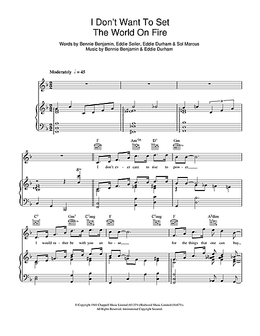 I Don't Want To Set The World On Fire Sheet Music