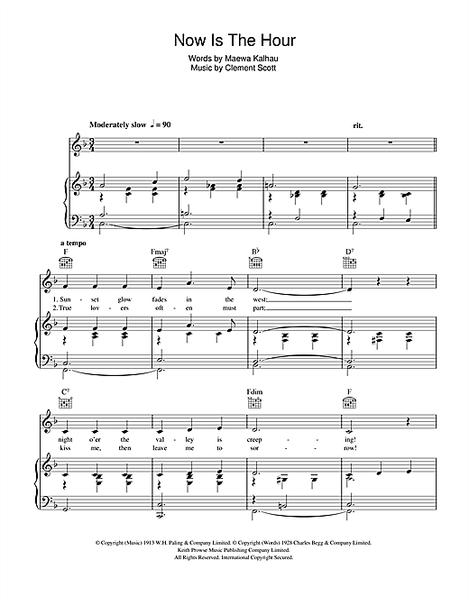 Now Is The Hour Sheet Music