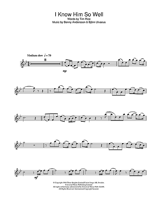 I Know Him So Well (from Chess) Sheet Music