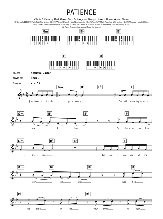 Partition piano Patience de Take That - Synthétiseur