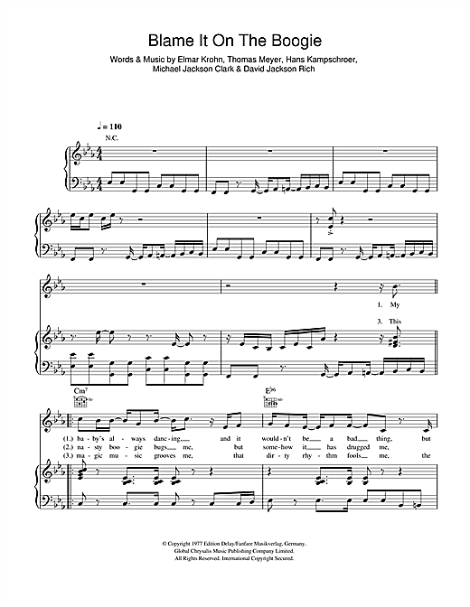 Partition piano Blame It On The Boogie de The Jacksons - Piano Voix Guitare