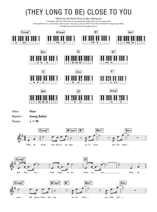They Long To Be Close To You Sheet Music By Carpenters Keyboard