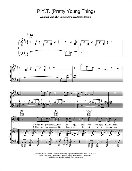 P.Y.T. (Pretty Young Thing) Sheet Music