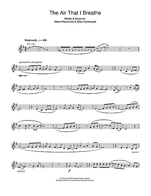 The Air That I Breathe Sheet Music By The Hollies Alto Saxophone