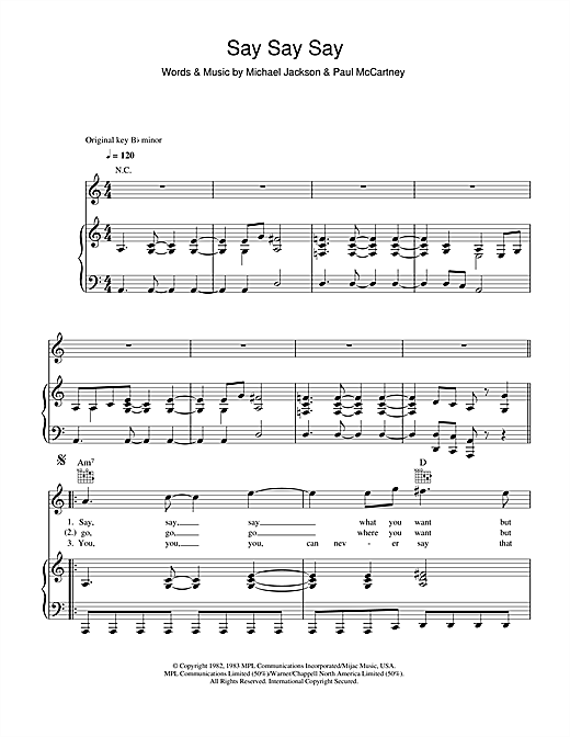 Say Say Say Sheet Music