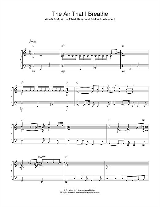 Partition piano The Air That I Breathe de The Hollies - Piano Solo