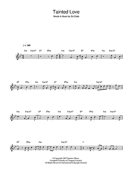 Tainted Love Sheet Music