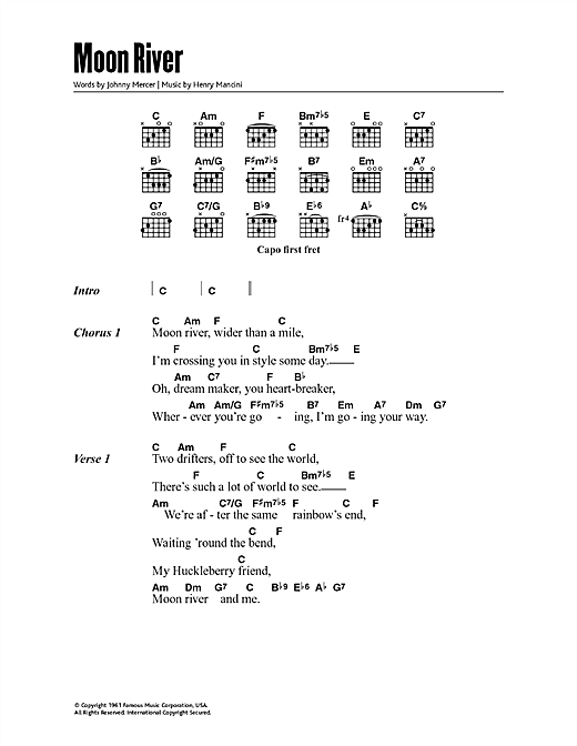 Moon River (Guitar Chords/Lyrics)