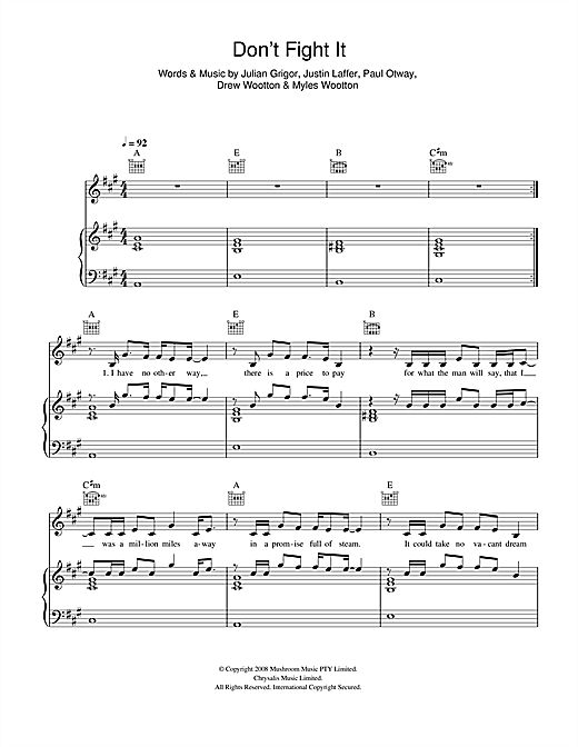 Don't Fight It Sheet Music