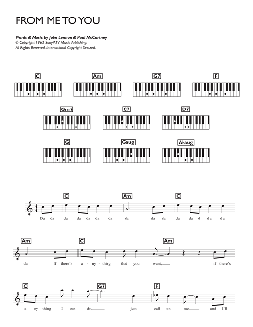 Partition piano From Me To You de The Beatles - Synthétiseur