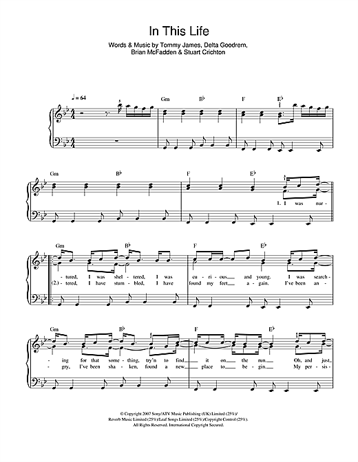 In This Life Sheet Music