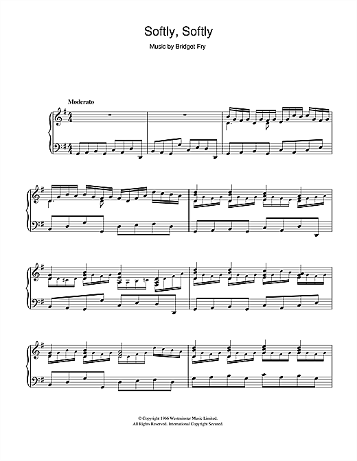 Partition piano Softly, Softly de Bridget Fry - Piano Solo