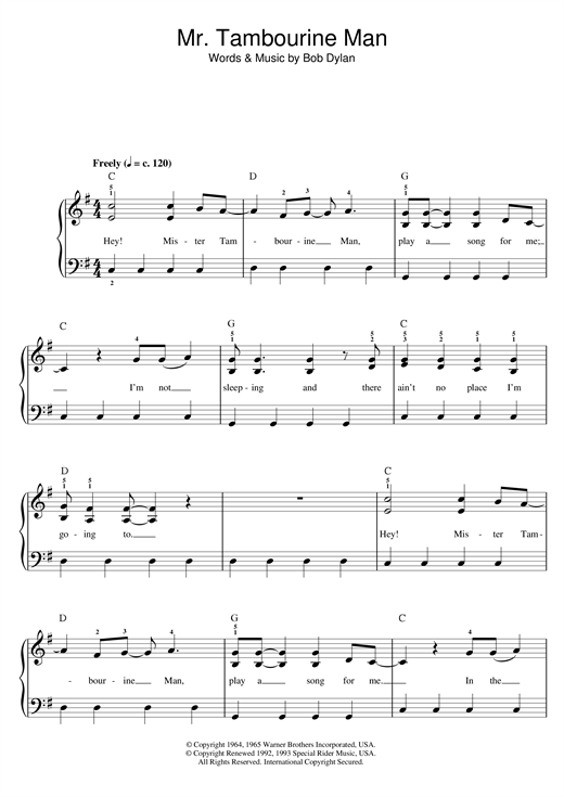 Mr. Tambourine Man sheet music by Bob Dylan (Beginner Piano – 47789)