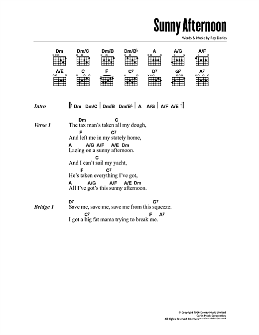 Sunny Afternoon Sheet Music By The Kinks Lyrics Chords 47790