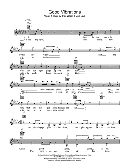 Good Vibrations (Lead Sheet / Fake Book)