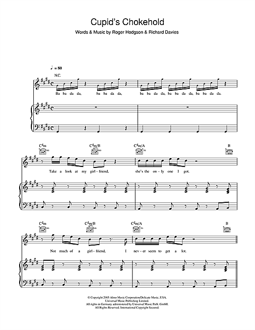 Cupid's Chokehold Sheet Music