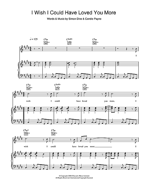 I Wish I Could Have Loved You More Sheet Music