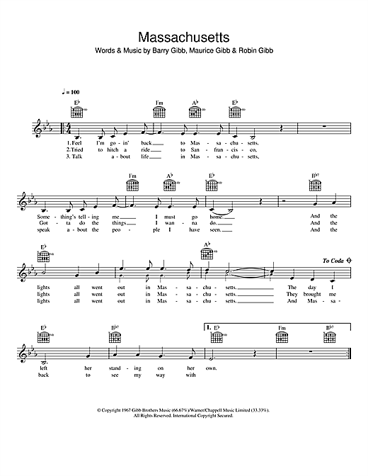 Massachusetts (The Lights Went Out) (Lead Sheet / Fake Book)