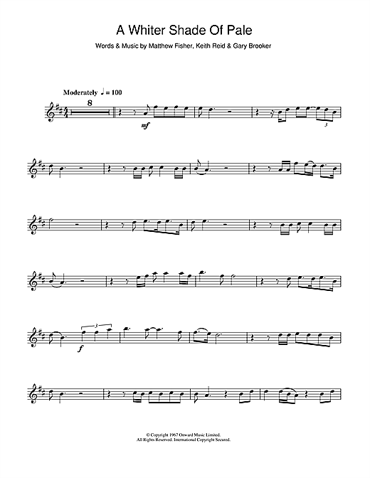 whiter shade of pale sheet music pdf