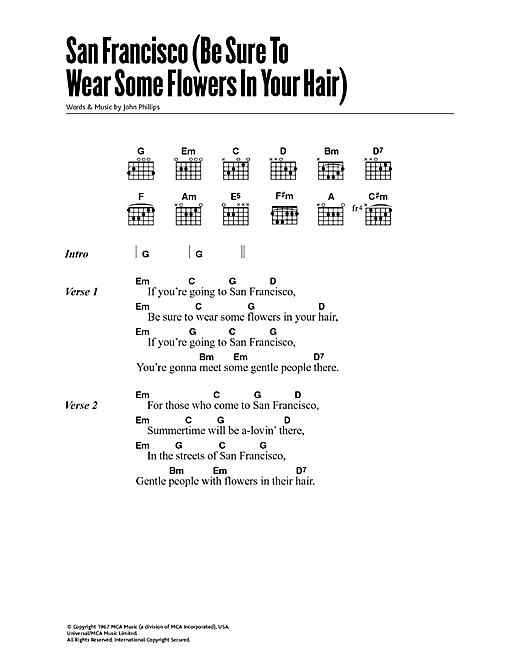 San Francisco (Be Sure To Wear Some Flowers In Your Hair) (Guitar Chords/Lyrics)