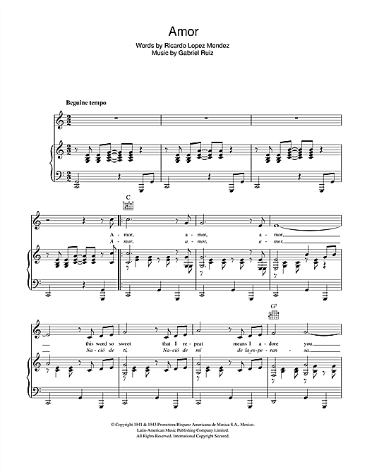 Amor (Piano, Vocal & Guitar (Right-Hand Melody))