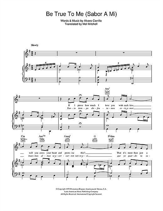 Sabor A Mi (Be True To Me) Sheet Music